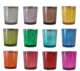"12-Piece 3"" Colored Antiqued Glass Votive Holders by Valerie - H290108"