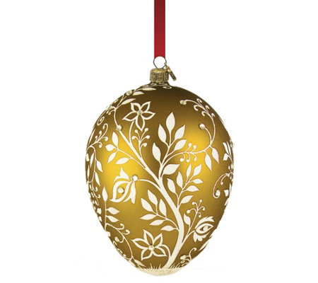 Reed & Barton Amber Mistletoe Egg Ornament