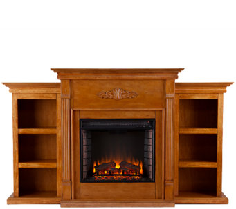 Gilmore Glazed Pine Electric Fireplace w/ Bookcases - H364108