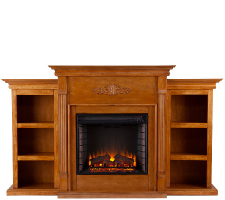Gilmore Glazed Pine Electric Fireplace w/ Bookcases