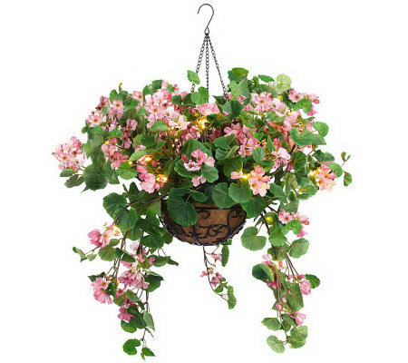 Bethlehem Lights Battery Op. Geranium Hanging Basket
