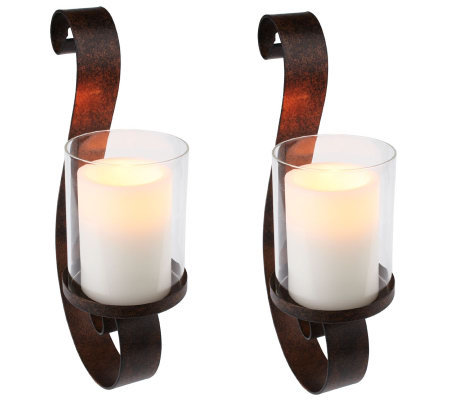 set of 2 wall sconces wflameless candles wtimer - Flameless Candles With Timer
