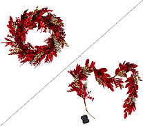 "Illuminated Glittered Bay Leaf 24"" Wreath or 5' Garland - H206209"