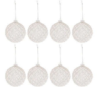 "Set of 8 Glass Glittered 4"" Ball Ornaments by Valerie - H206309"