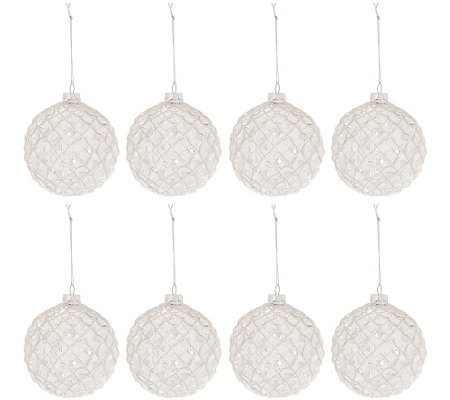 "Set of 8 Glass Glittered 4"" Ball Ornaments by Valerie"