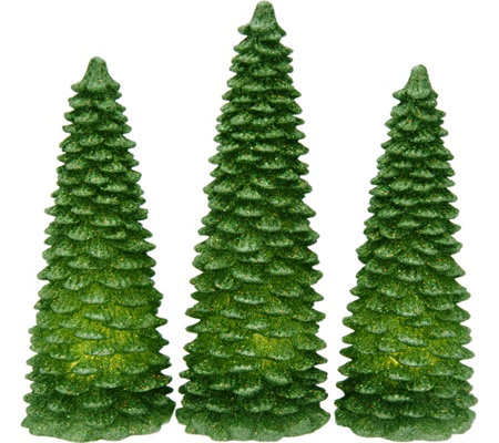 Set of 3 Illuminated Glitter Wax Trees by Valerie
