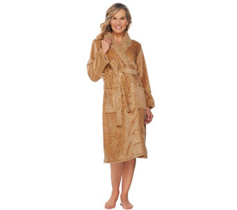 LOGO by Lori Goldstein Oversized Plush Spa Robe with Faux Fur Collar - H209509