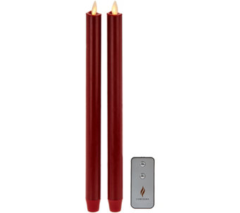 "Luminara Set of 2 12"" Wax-Dipped Tapers with Remote - H209709"