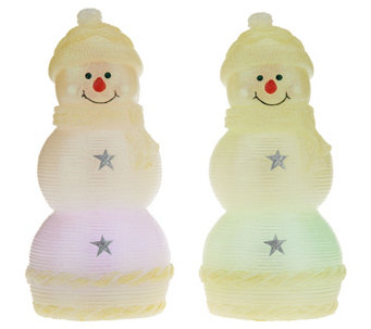"""As Is"" Set of 2 Lightscapes Illuminated 8.5"" Holiday Characters - H210309"