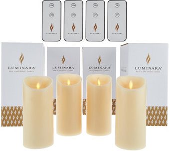 "Luminara (4) 6"" Flameless Unscented Candles with 4 Remotes - H210509"