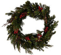 "Scott Living 24"" LED Color Flip Mixed Greenery Wreath w/7 Functions - H212409"