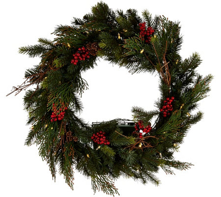 "Scott Living 24"" LED Color Flip Mixed Greenery Wreath w/7 Functions"