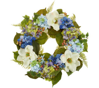 Spring easter dcor qvc 22 hydrangea and berry wreath by valerie h214409 negle Choice Image
