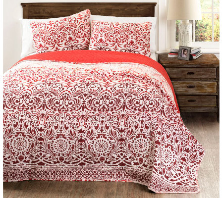 Galacia Red 3-Piece King Quilt Set by Lush Decor