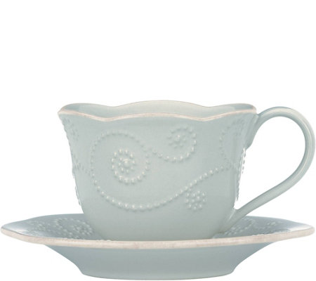 Lenox French Perle Cup and Saucer Set - Ice Blue