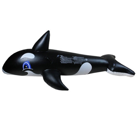 "75"" Black and White Whale Rider Inflatable Swimming Pool Toy"