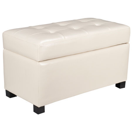 Storage Ottoman in Cream Faux Leather by OfficeStar