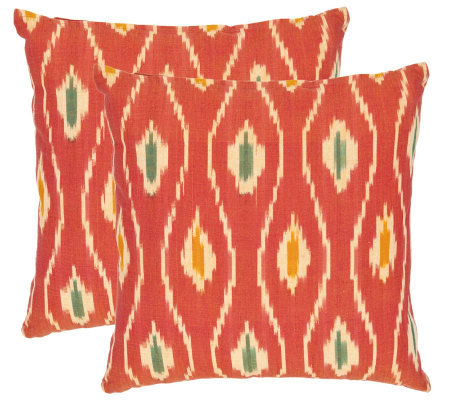 "Safavieh Set of 2 18""x18"" Iris Printed Ikat Design Pillows"