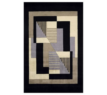 "Momeni New Wave Geometric 5'3"" x 8' Handmade Wool Rug - H161710"