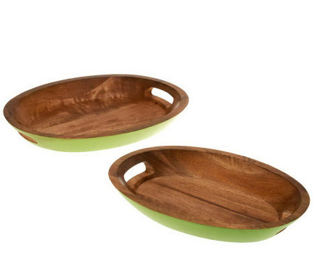 Latina Set of 2 Mango Wood Serving Trays