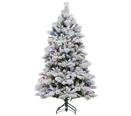 """As Is"" E.D. On Air 6.5' Flocked Sheerwood Spruce Tree"