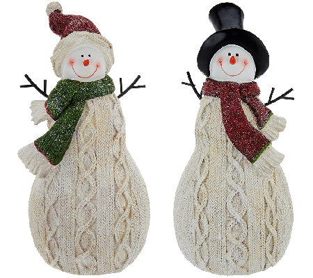 Set of 2 Sweater Knit Snowmen by Valerie