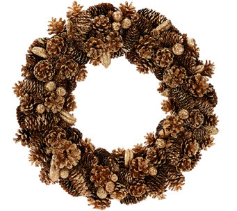 "16"" Shimmering Forest Pinecone Wreath - H206610"