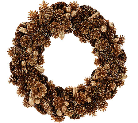 "16"" Shimmering Forest Pinecone Wreath"