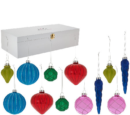 Isaac Mizrahi Live! Set of 12 Glass Ornaments in Wooden Collector's Box