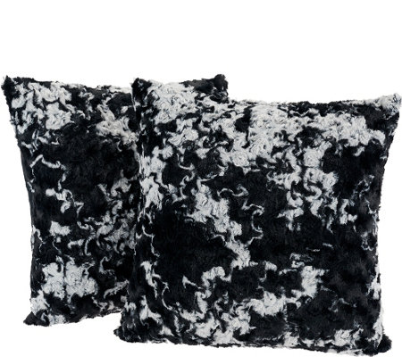 """As Is"" Dennis Basso S/2 Decorative Faux Fur Throw Pillows"