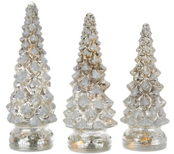Set of 3 Lit Twinkling Mercury Glass Trees by Valerie - H209110