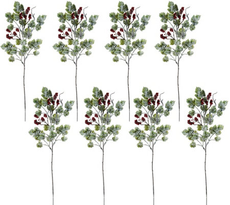 Set of 8 Frosted Berries and Leaves Picks by Valerie