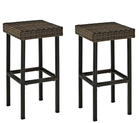 "Palm Harbor Outdoor Wicker 24"" Counter Height Stools, Set of 2"