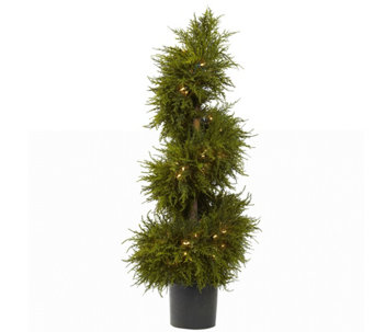 "43"" Cedar Spiral Topiary with Lights by NearlyNatural - H290610"