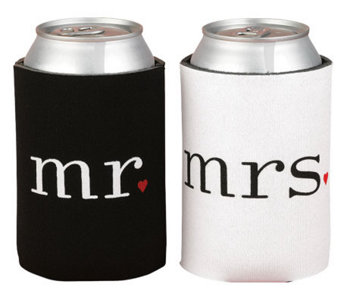 """Mr."" and ""Mrs."" Black and White Can Coolers - H350610"