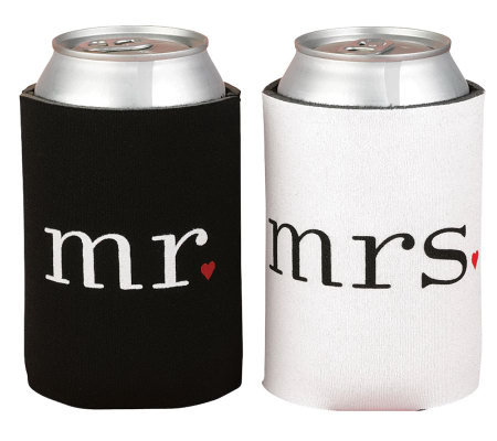 """Mr."" and ""Mrs."" Black and White Can Coolers"