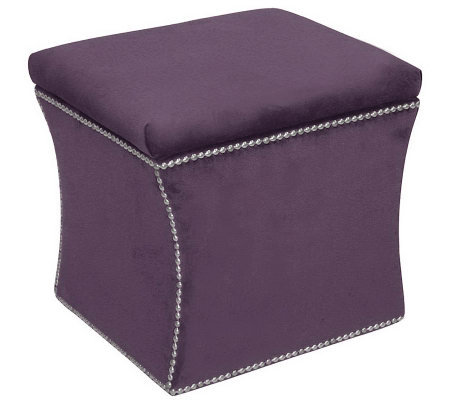 Skyline Furniture Nail Button Velvet Storage Ottoman