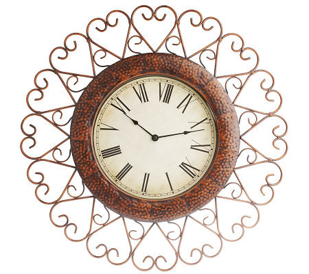 "Home Interior Accents ""Hearts"" 24"" Iron Wall Clock"