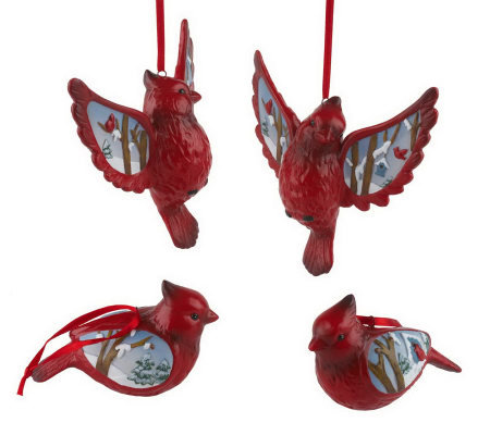 Set of 4 Winter Scene Stoneware Cardinal Ornaments