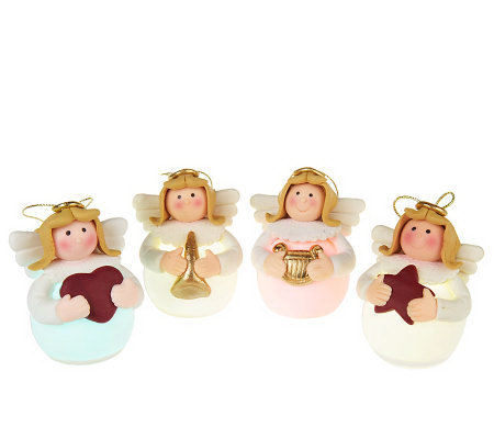 Set of 4 Light up LED Angel Ornaments