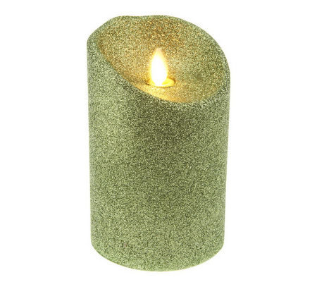 "Luminara 5"" Flameless Glitter Candle with Timer"