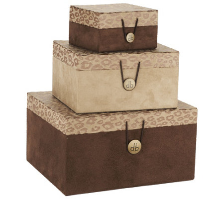 Dennis Basso Set of 3 Stackable Boxes with Button Closures