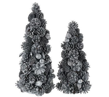 "12"" and 16"" Shimmering Forest Pinecone Trees"