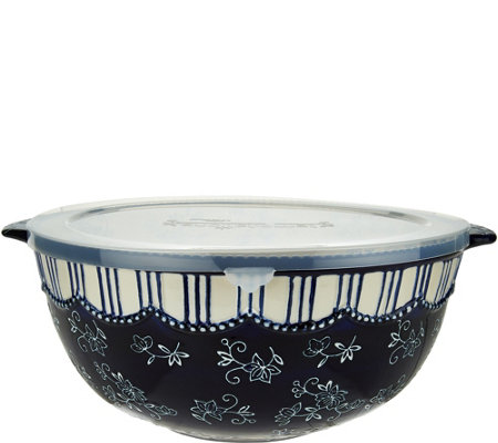 Temp-tations Floral Lace 6 qt. Mixing Bowl with Plastic Lid