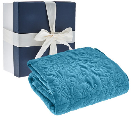 """As Is"" 50""X70"" Velvety Quilted Throw with Gift Box by Valerie"