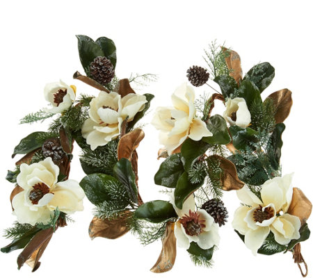 6' Iced Magnolia and Pinecone Garland by Valerie