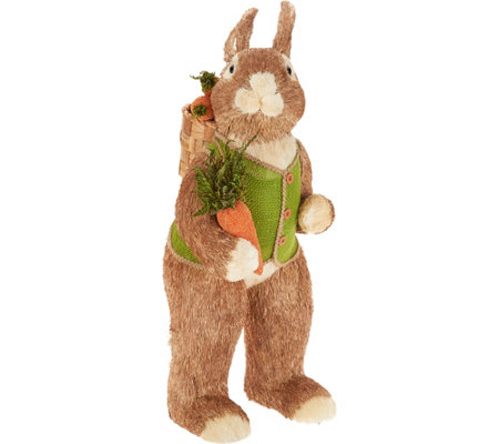 "30"" Oversized Sisal Bunny w/ Carrot Basket by Valerie"