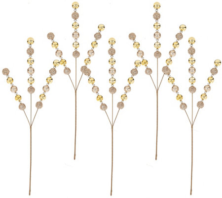 """As Is"" Set of 5 Glitter Ball Stems by Valerie"