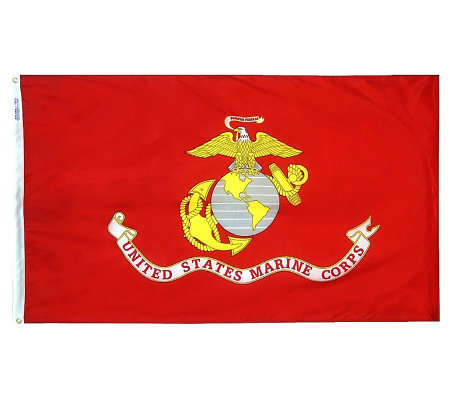 Annin Marine Corps Nyl-Glo Flag with Grommets 3' x 5'