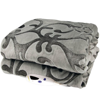 Biddeford Gray Embossed Two-Tone Velour Heated Throw - H289811